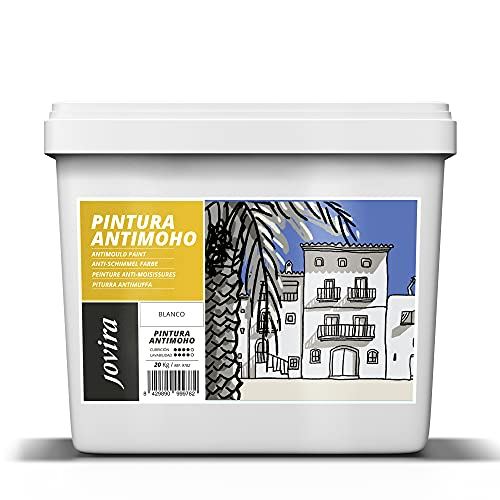 PINTURA ANTIMOHO, evita el moho, resistente a la aparición de moho en paredes, aspecto mate. (CUBO 20kg, BLANCO)