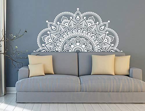 Calcomanía de pared Half Mandala Pintura de pared Yoga Lover Gift Home Bedside Decoration Half Mandala Design Etiqueta de la ventana del coche A9 116x57cm