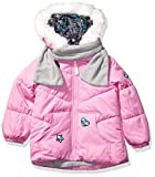 LONDON FOG Girls' Little Quilted Puffer Jacket with Scarf, Cyclamen Pink, 5/6