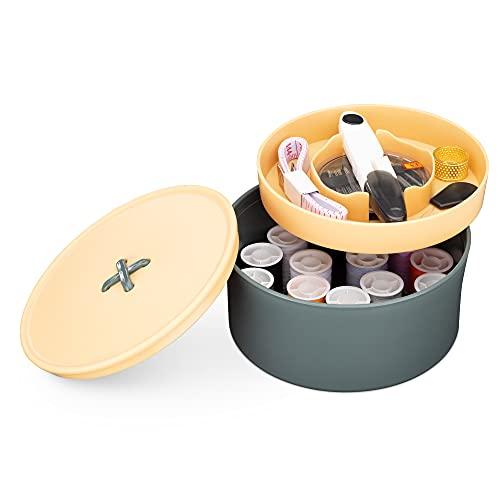 Navaris Caja con Kit de Costura - Set Completo con Accesorios para Coser con Hilos Agujas Tijeras dedal - Costurero Redondo con Tapa - Verde y Beige