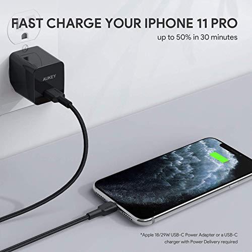 AUKEY USB C auf Lightning Kabel 2m [ Apple MFi Zertifiziert ] Nylon iPhone Kabel für iPhone 11 /XS Max/X / 8/8 Plus / 7/7 Plus / 6s / 6s Plus / 6/6 Plus