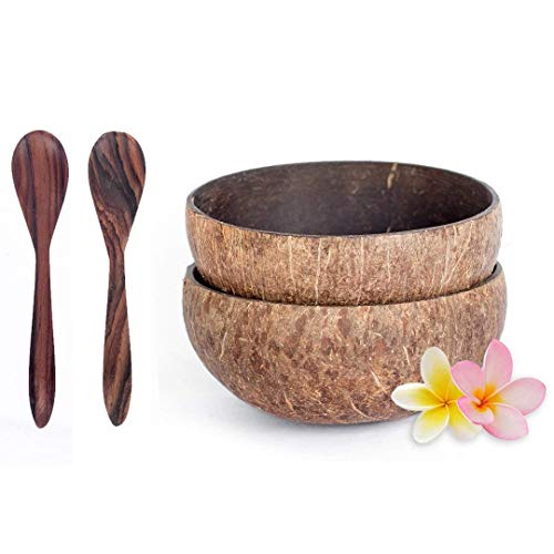 Bali Harvest Natural Coconut Bowl and Wooden Rosewood Spoon - 100% Vegan & Natural Handmade Cereal Bowls Set - Coconut Shells (2 Bowls with 2 Spoons)