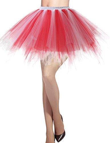 DRESSTELLS Damen Tüllrock 50er Rockabilly Petticoat Tutu Unterrock Kurz Ballett Tanzkleid Ballkleid Abendkleid Gelegenheit Zubehör Red-White S