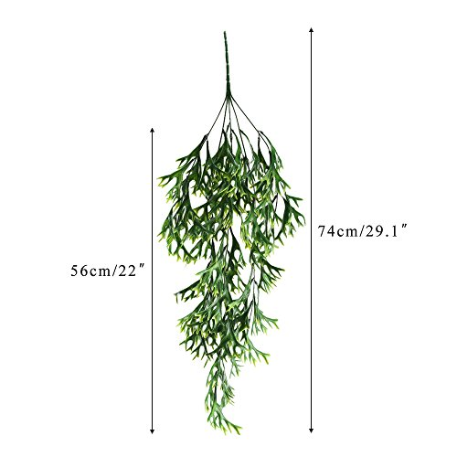HUAESIN Artificial Hanging Ferns 2pcs Artificial Staghorn Fern Fake Plants Greenery Plants UV Plastic Artificial Plants for Wall Indoor Outdside Hanging Basket Decor