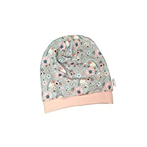 Baby Kinder Beanie Mütze Mädchen Rotkehlchen grau lachs KU 34-54 cm handmade Puschel-Design