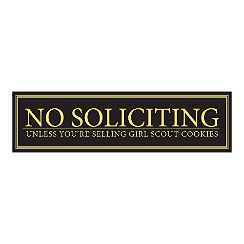 """No Soliciting Unless You're Selling Girl Scout Cookies Door Magnet - Funny Magnet""""No Soliciting"""" Sign for Metal Doors and Frames (2.5"""" x 9"""")"""