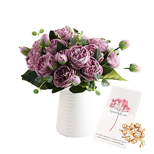 OuLi Store® 4 Paquete Artificial Peonía Seda Flores Bouquet para Boda Inicio Jardín Fiesta Decoración, 5 Tenedores, 9 Cabezas (4 Paquete-Púrpura)