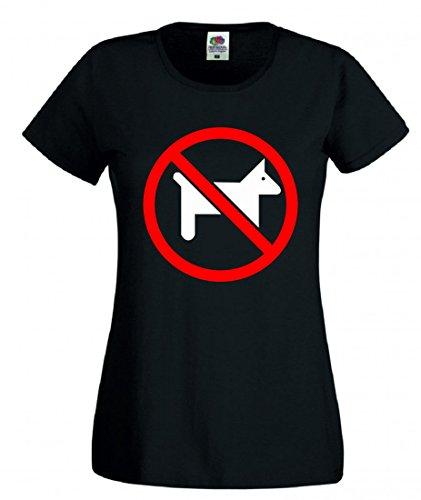 Camiseta con texto en alemán 'Anmelden' ('Keine Haustiere- Symbol- WARNUNG- VERBOTEN- EINGESCHRÄNKT- Haustiere- Tiere- Rot- Kreis- RUNDE para hombres, damas, niños - 104-5XL) Negro  Mujer Gr.: X-Large