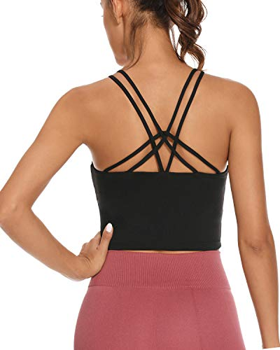 OVESPORT Sports Bra for Women Crop Tops Strappy Back Women Tank Tops Bulid in Bra Workout Light Support Yoga Bra Gym (WX9003, Black, M)