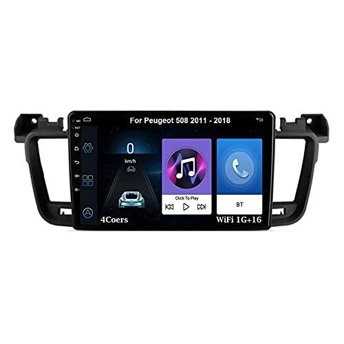 Android Radio Estéreo Pantalla Coche 9 Inch Pantalla Táctil Capacitiva Para Peugeot 508 2011-2018 Android Auto Coche Conecta Y Reproduce Coche Audio FM/Am/RDS Video SWC Cámara Trasera