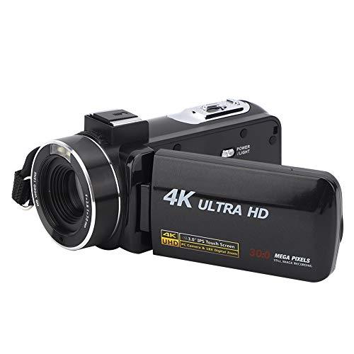 Archuu Cámara de Video Digital portátil, 30MP 4K Anti-vibración 1080P HD 18X Zoom Pantalla táctil IPS de 3 Pulgadas Cámara de Video Digital Videocámara