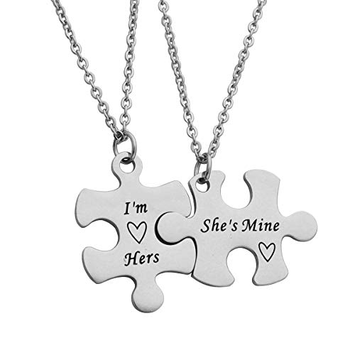 Beeshion Gay Couple Gift Puzzle Necklace Set Gay Couple Necklaces Gay Couples Jewelry LGBT Necklace Set Wedding Gift (I'm Hers She's Mine)