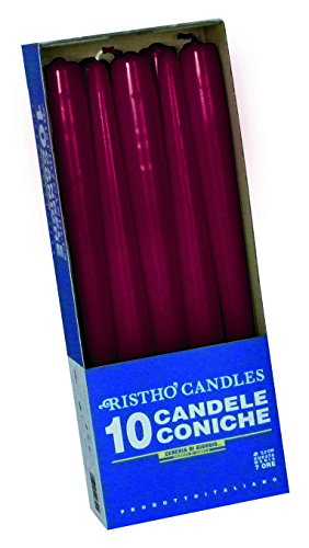 CERERIA di Giorgio risthò Cone for Candlestick, Wax Candles, Bordeaux, 2.2X 25CM