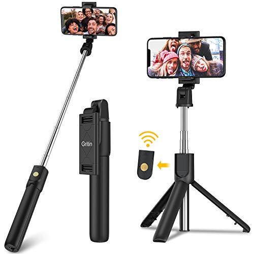 Perche Selfie Bluetooth, Gritin 3 en 1 Selfie Stick Trépied Bâton Selfie Bluetooth Extensible Télescopique Monopode Réglable avec Télécommande Amovible & Support Stable pour iPhone, Galaxy, Huawei