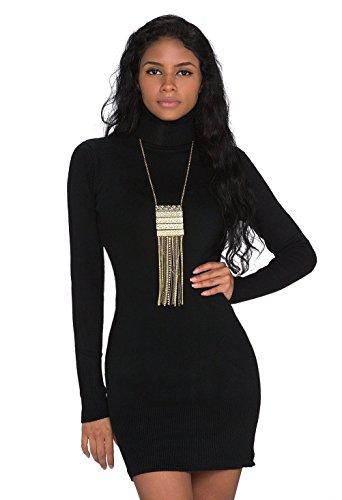 Fashion4Young 927 Damen Strick Minikleid Longpullover Pullover Long Rollkragen in 6 Farben 2 Größen (L/XL 38/40, Schwarz)