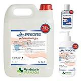 Gel Igienizzante Mani - Tanica da 5 litri, flacone da 1 litro e flacone da 100 ml di gel mani alcool 75% igienizzante antibatterico efficace contro germi e batteri a base alcolica. MADE IN ITALY