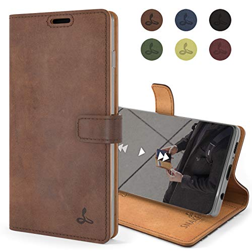 Snakehive Vintage Wallet for Samsung Galaxy S10 || Genuine Leather Wallet Phone Case || Real Leather with Viewing Stand & 3 Card Holder || Flip Folio Cover with Card Slot (Brown)
