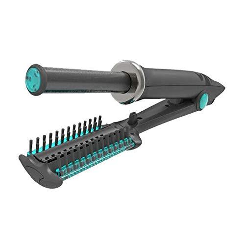 Fer À Lisser Cheveux Bigoudi 2 en 1Boucleur Cheveux Coiffeur Humide et sec disponible Céramique Contrôle De La Température Pivotant,Black,19mm