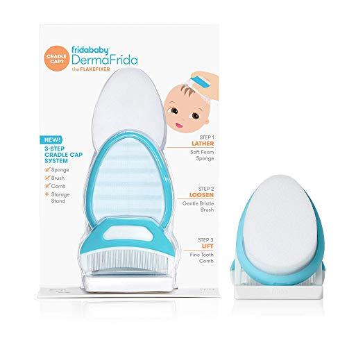 Fridabababy DermaFrida the FlakeFixer Système de support pour éponge, brosse, peigne et support de rangement pour bébés avec capuchon de berceau