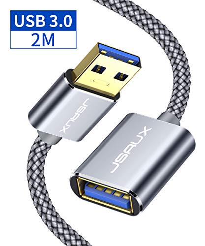 JSAXU Cavo Prolunge USB 3.0 2M, Maschio A Femmina A 5Gbps Cavo Extensione USB 3.0 USB Prolunga con Chiavetta USB, Hub USB, Disco Rigido Esterno, Tastiera, Mouse, Stampante, Videocamere - Grigio