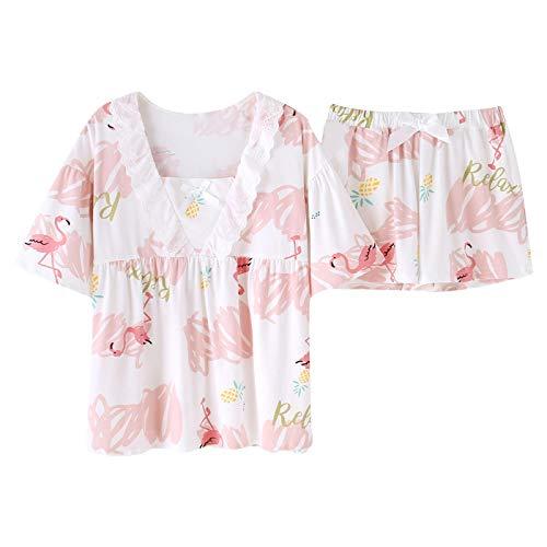 DFDLNL Conjunto de Pijamas de Verano para Mujer, Camisa de Cuello Redondo + Pantalones Cortos, 2 uds, Ropa de Dormir Suelta con Estampado de Animales, Conjunto de Ropa de casa de algodón para Mujer M