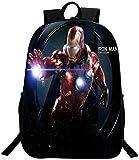 Mochila infantil de Iron Man, de Los Vengadores, mochila escolar, ocio, viajes, camping, cómoda y duradera, Iron1. (Negro) - DF32-4545S