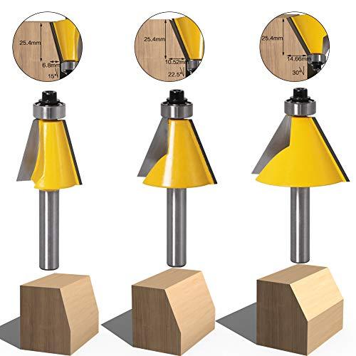 3 Stücke 8mm Schaft Fase & Abschrägung Kanten-Router-Bit Holzbearbeitungs Schneidwerkzeug (15 Grad + 22,5 Grad + 30 Grad)