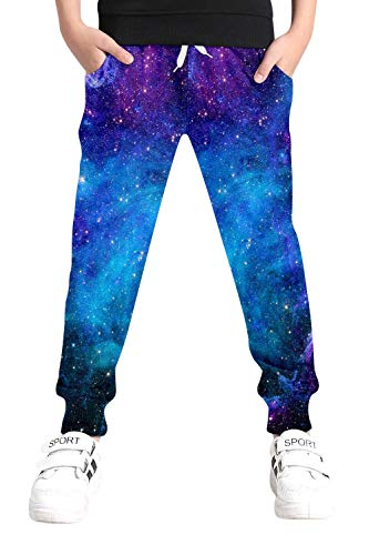 Boys Cool Pants with Drawstring 3D Printed Blue Galaxy Sweatpants for Girls...