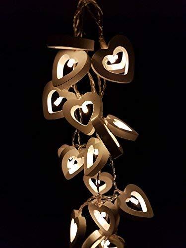 Holz Lichterkette mit 20 LED - Motiv: Herz - Deko Lichterkette in warmweiß - Batterie betrieben