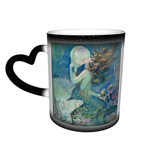 Color Change Coffee Mug Mermaid Pearl Nautical Ocean Funny Ceramic Heat Sensitive Starry Sky Cup