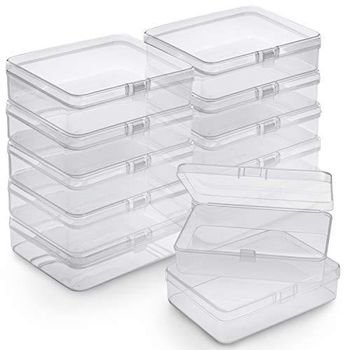BELLE VOUS Caja Plástico Almacenamiento (Pack de 12) - (11,3 x 8,3 x 2,8 cm) - Cajas de Ordenacion Plástico Transparente - Caja de Almacenamiento Rectangular para Abalorios, Joyas, Hallazgos Relojes