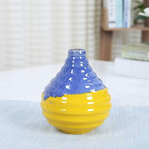 Vaas decoratie Fashion streep vaas keramische handgemaakte eenvoudige desktop decoratie mini kleine vaasjes, 6,5 (Color : 3)