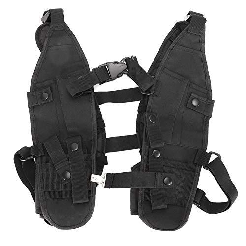 Outdoor-Doppelschulter-Brusttasche Zwei Haupttaschen Walkie-Talkie-Brusttasche Verstellbare Träger aus Nylonmaterial, zum Zelten, zum Angeln, zur Bergrettung