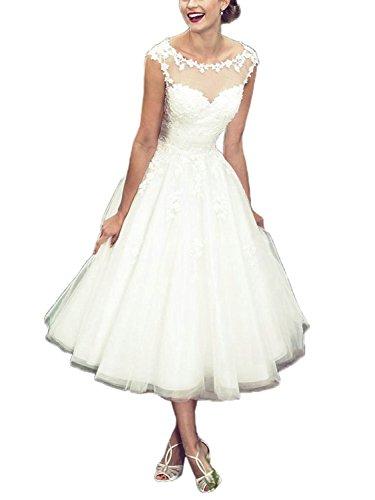 Brautkleid Hochzeitskleider Damen Lang Brautmode Tüll Spitze mit Applikation A Linie Elfenbein EUR58