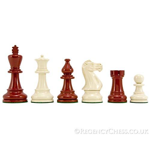 The Regency Chess Company Atlántico Serie Staunton Ajedrez Piezas Rojo & Crema Lacado 9.5cm