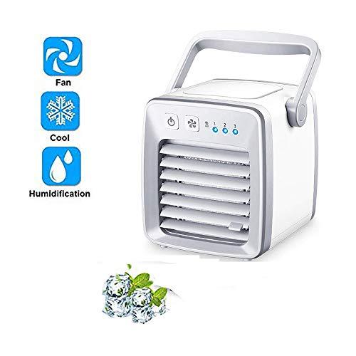 Mini-luchtkoeler, mini-ventilator, luchtbevochtiger, luchtreiniger, 3-in-1 mini-airconditioning, draagbaar voor huis, kantoor, auto, outdoor