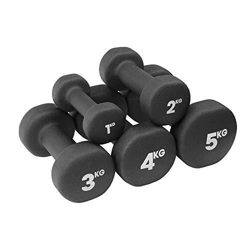 Fitness Mad Neo - Set de 2 Mancuernas / pesas de 5kg/u, color negro