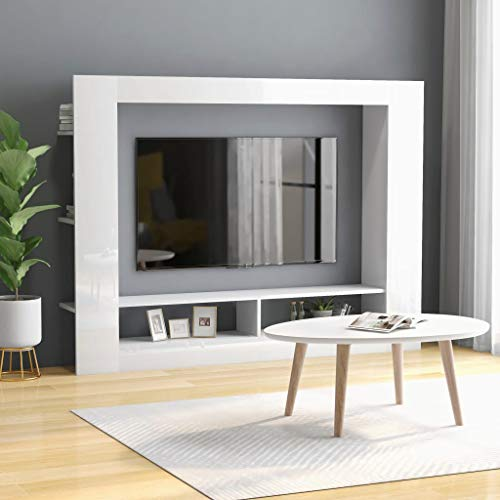 TV Cabinets Chipboard TV Stand TV Table TV Units Home Furntain for Living Room High Gloss White 152x22x113 cm by BIGTO
