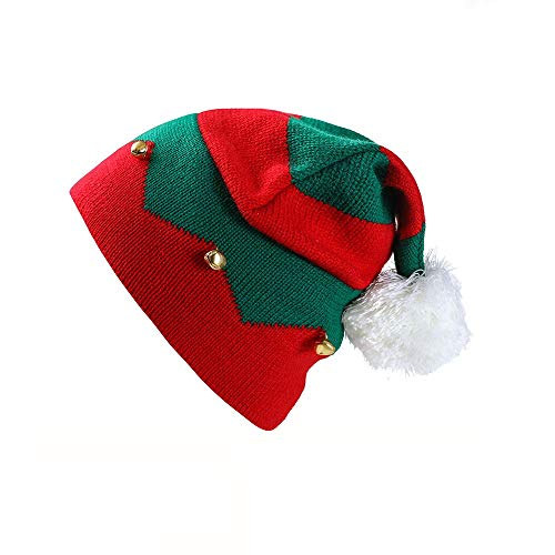 Christmas Elf Knitted Hat, Xmas Baby Beanie Knit Hat for Children(1 to 6 Years Old,Red)
