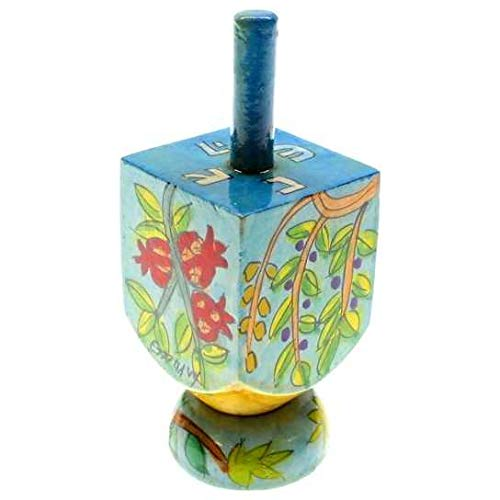 Yair Emanuel Small Wooden Dreidel with Seven Species of Israel Design and Stand