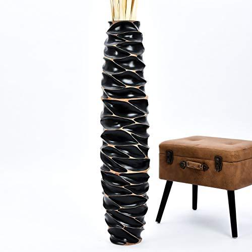 Leewadee Grande Vaso da Terra: Vaso Alto, Elemento Decorativo Fatto a Mano in Legno Esotico, Vaso per per Rami Decorativi, 111 cm, Nero