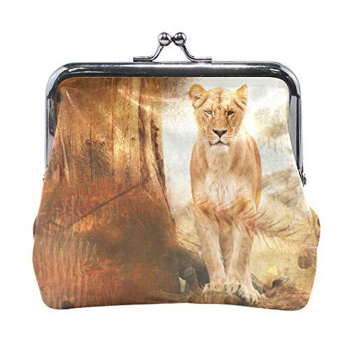 Monedero de piel con cierre de broche para mujeres y niñas, diseño de león