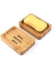 Gurkkst 2 Paquetes Jabonera Jabonera de Madera Natural bambú Bandeja de jabón para Ducha de baño Fregadero para jabón, esponjas y más