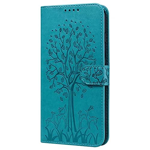 Funda para Xiaomi Redmi Note 9 Pro 5G, funda de teléfono para Xiaomi Redmi Note 9 Pro 5G Flip Wallet Case Tree Design con soporte para tarjetas magnéticas Niñas Cuero Silicona a prueba de golpes Azul