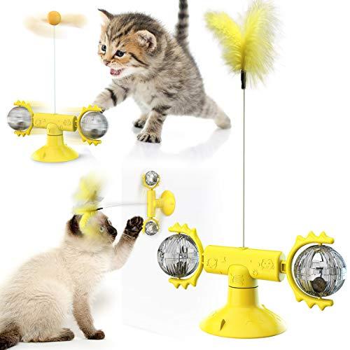 Windmühle Katzenspielzeug, Interaktives Katzenspielzeug,Plattenspieler Katzenspielzeug für Innenkatzen mit Saugnapf, Lustiges Katzenfederspielzeug mit natürlichen Feder und (Gelb)