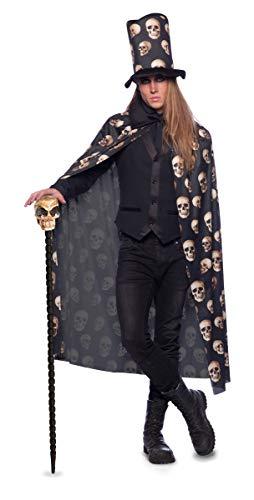 Folat 23800 Halloween Umhang Totenschädel mit Zylinder-Hut Erwachsene, Schwarz, Einheitsgröße