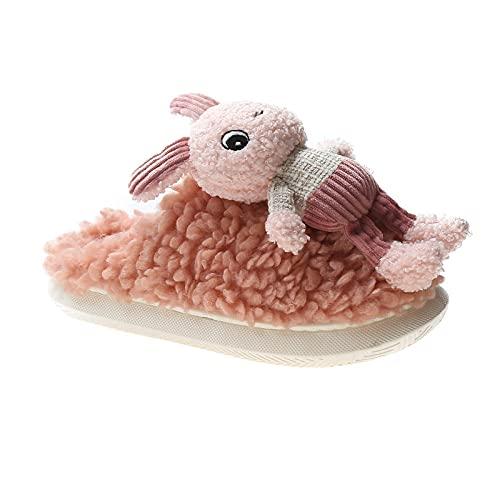 MLLM Cálido Cosy antideslizante interior Home SlippersGirls zapatillas de algodón, pareja lindas zapatillas de felpa, zapatos de confinamiento de damas, plataforma_rosa_36