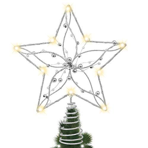 Valery Madelyn Weihnachtsbaumspitze 29cm Metall Christbaumspitze batteriebetriebe 10 Warmgelb LEDs beleuchtete Baumspitze mit Perle Weihnachtsdeko Silber Weiß MEHRWEG Verpackung