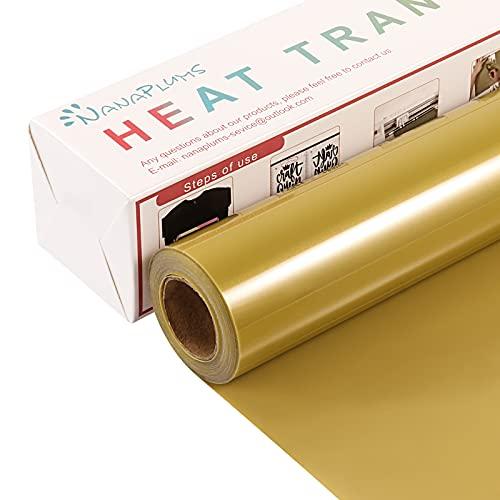 NANAPLUMS Plotterfolie Textil, 30.5cm×4m Transferfolie Plotter Flexfolie für Cricut und Silhouette Cameo, Verwendet in Textilien Transferfolie zum Aufbügeln für DIY T-Shirt, Stoffe(Gold)