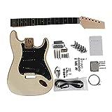 KEPOHK Kit de guitarra eléctrica Diy Cuerpo de fresno de caoba Cuello sin terminar Todo el hardware 39 pulgadas ST-kit de guitarra